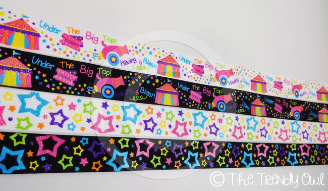 "7/8"" Under The Big Top - Having a Blast! - Circus Inspired - 5yd Roll"