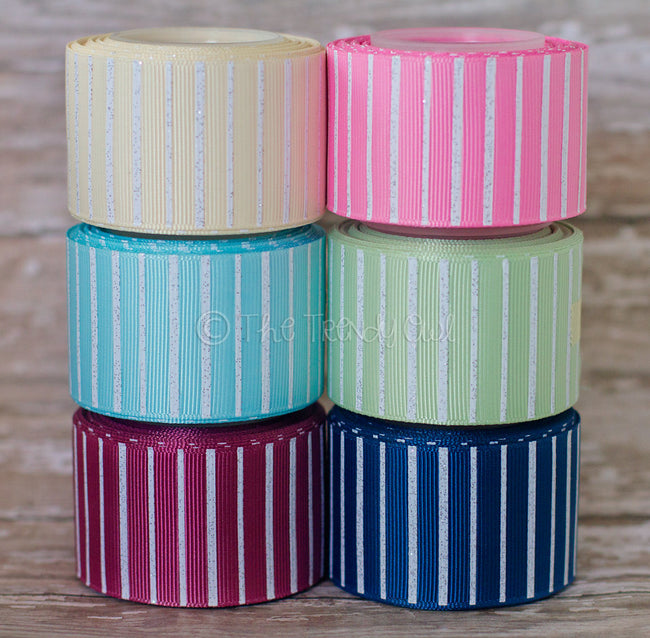 "3/8"", 7/8"", 1.5"" White Glittered Pin Stripes - Shabby Chic Tea Party Inspired - 5yd Roll"