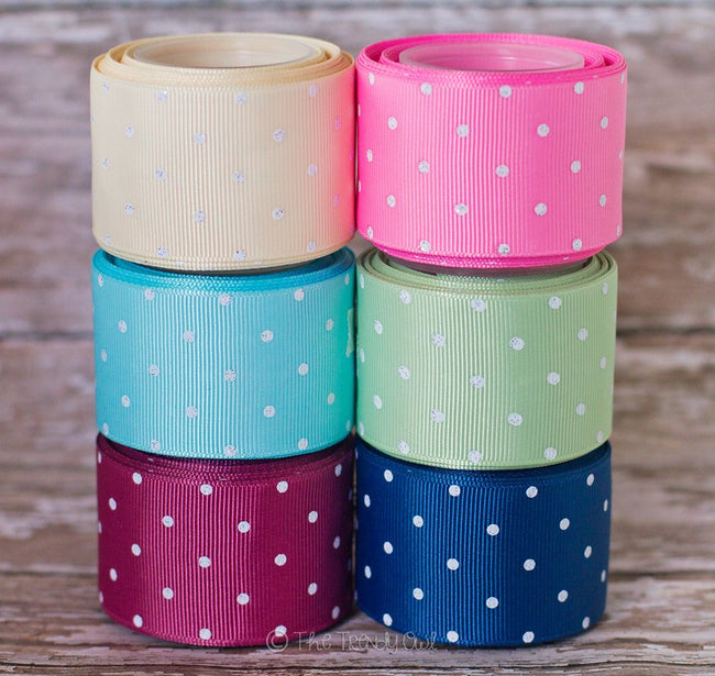 "3/8"", 7/8"", 1.5"" White Glittered Mini Dots - Shabby Chic Tea Party Inspired - 5yd Roll"