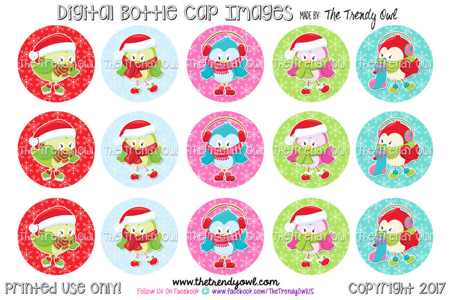 "Cute Christmas Birds - Winter Themed - 1"" Bottle Cap Images - INSTANT DOWNLOAD"