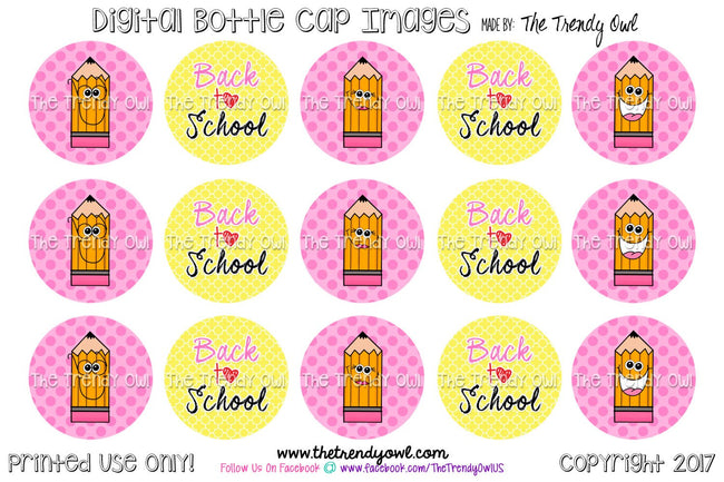 "Cute Pencils - Back To School Themed - 1"" Bottle Cap Images - INSTANT DOWNLOAD"