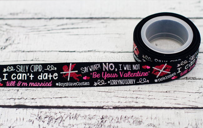 "7/8"" Anti-Valentine's Day - U.S. DESIGNER - High Quality Grosgrain Ribbon - 5yd Roll"