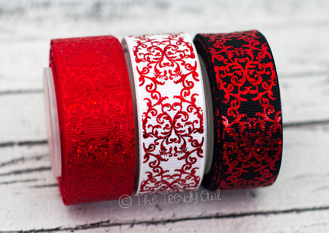 "7/8"" Red Laser Foil Damask - 5yd Roll"