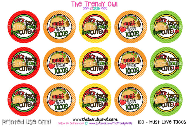 "Must Love Tacos - 1"" BOTTLE CAP IMAGES - INSTANT DOWNLOAD"