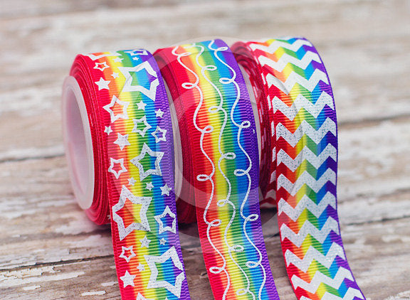 "7/8"" White Glittered Prints on Traditional Rainbow Stripes - 5yd Roll"