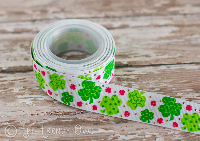"7/8"" Lucky Clovers - St. Patrick's Day Inspired - 5yd Roll"