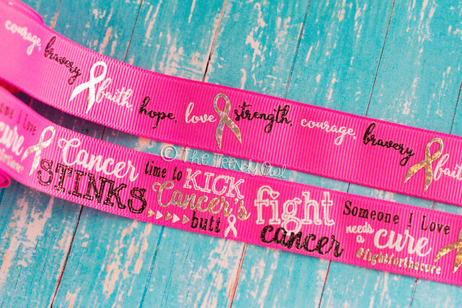 "7/8"" Fight Cancer! on Hot Pink - Breast Cancer Awareness - 5yd Roll"