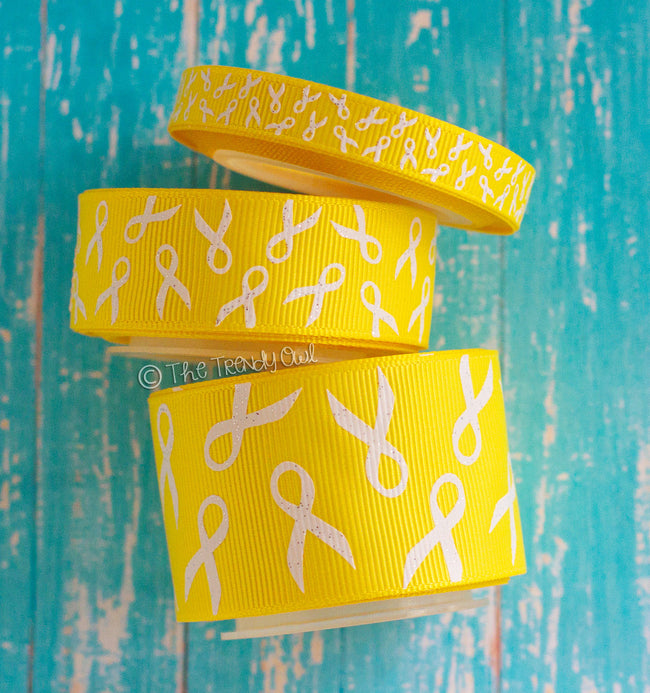 "3/8"", 7/8"", 1.5"" White Glitter Awareness Ribbons on Yellow - Childhood Cancer Awareness - 5yd Roll"