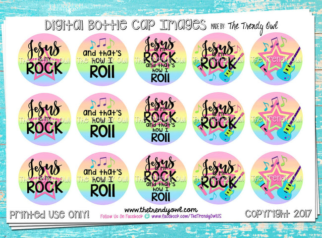 "M2M ""Jesus is My Rock, and That's How I Roll"" - 1"" BOTTLE CAP IMAGES - INSTANT DOWNLOAD"