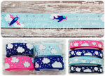 "7/8"" Oh The Places She Will Go, She Will Soar! 3/8"" & 7/8"" Sparkle Clouds - 5yd Roll"