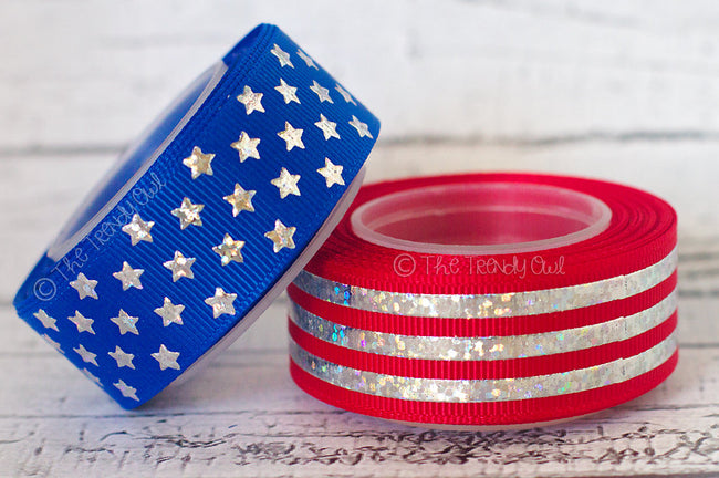 "7/8"" Silver Laser Foil Stars & Stripes! - 4th of July - 5yd Roll"