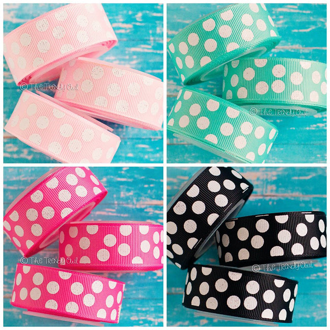 "7/8"" White Glitter Polka Dots - Pearl Pink, Tropic, Hot Pink, Black - 5yd Roll"
