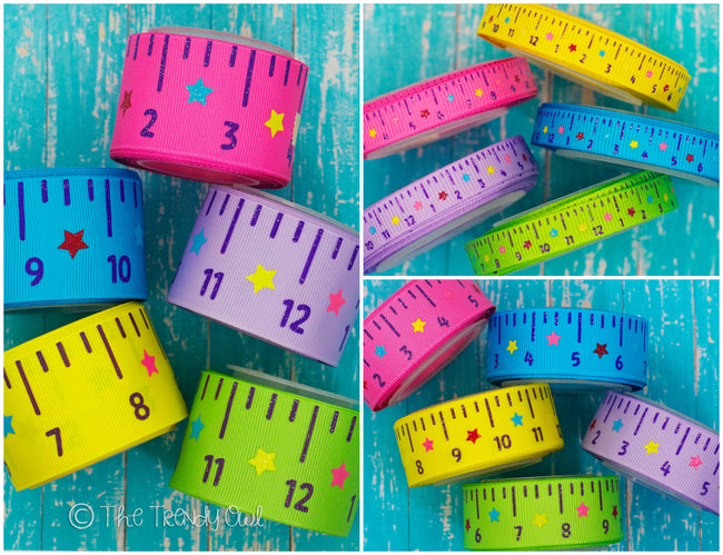 "3/8"", 7/8"" & 1.5"" Bright Back To School Rulers - 5yd Roll"