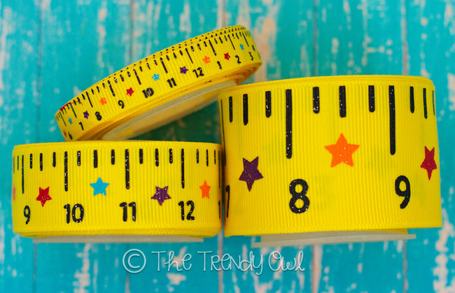 "7/8"" ""Pray For My Teacher"" & 3/8"", 7/8"", 1.5"" Rulers - Back To School Inspired - 5yd Roll"