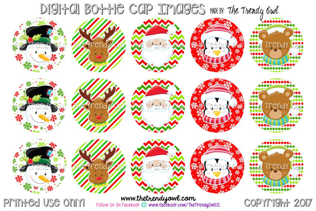 "Cute Christmas Faces - Winter Themed - 1"" Bottle Cap Images - INSTANT DOWNLOAD"