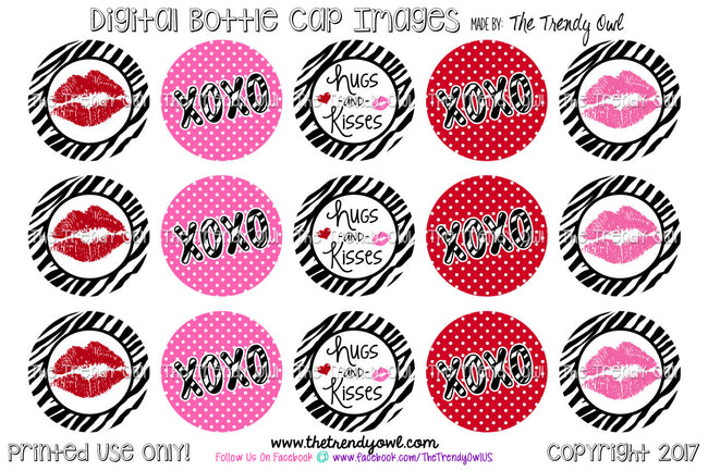 "Hugs & Kisses - Valentine's Day Themed - 1"" BOTTLE CAP IMAGES - INSTANT DOWNLOAD"