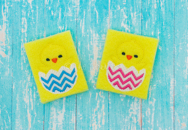 1 pc. Easter Chicks in Chevron Eggs - UNTRIMMED