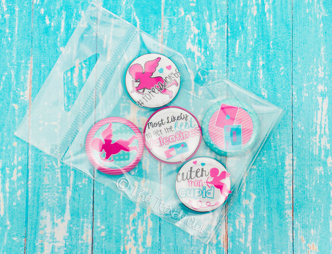 Flat Back Buttons M2M Cuter Than Cupid! Valentine's Day Collection - 5pc Set