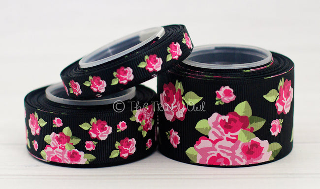 "3/8"", 7/8"", 1.5"" Pink Vintage Floral on Black - 5yd Roll"