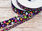 "3/8"" & 7/8"" Halloween Inspired Glitter Dots and Chevron - 5yd Roll"