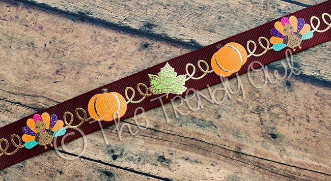 "7/8"" Fall/Thanksgiving Swirls with Gold Foil - 5yd Roll"