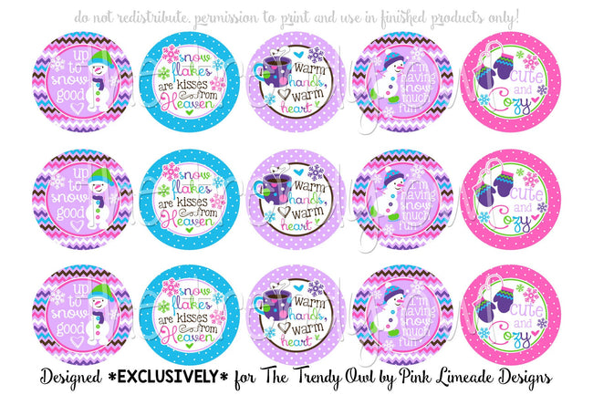 "Cute & Cozy Winter Inspired - 1"" Bottle Cap Images - INSTANT DOWNLOAD"