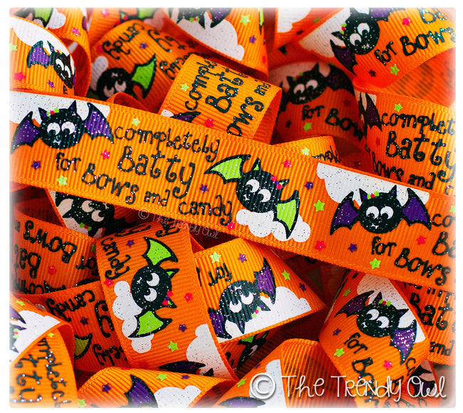 "7/8"" ""Completely Batty for Bows and Candy!"" - Halloween - 5yd Roll"