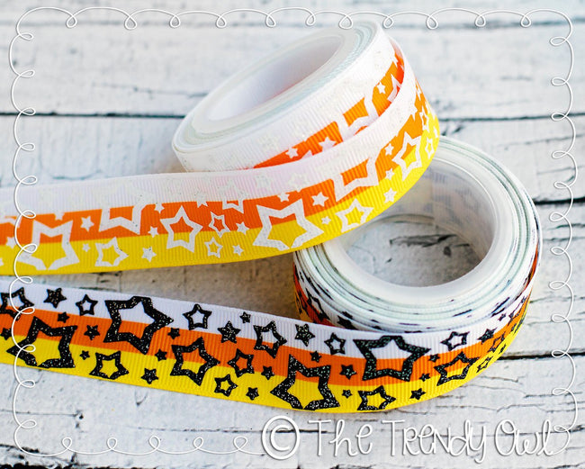 "7/8"" Halloween Inspired Glitter Doodles, Flurry Dots, and Stars - 5yd Roll"