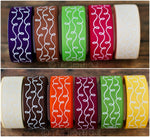 "7/8"" Fall Inspired White Glitter Doodle Swirls - 5yd Roll"