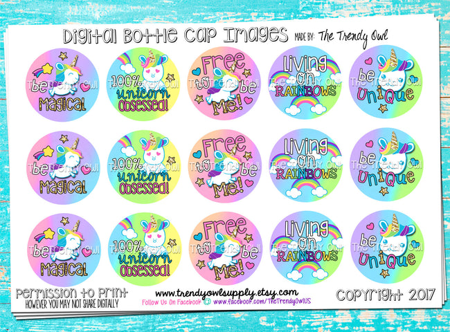 "Unicorns/Rainbows ""Free to be Me"" on Pastel Rainbow TieDye - 1"" BOTTLE CAP IMAGES - INSTANT DOWNLOAD"
