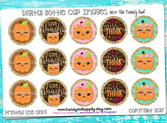 "Give Thanks - ""Lil Miss Thankful"" - 1"" Bottle Cap Images - INSTANT DOWNLOAD"