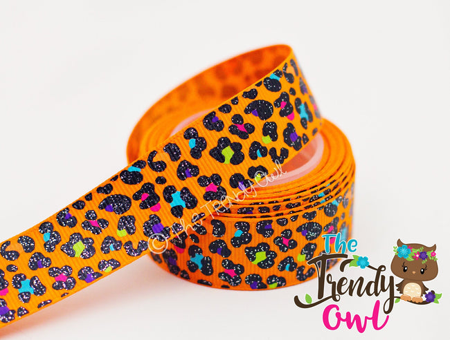 "7/8"" Bright Glittered Leopard Print - 5yd Roll"