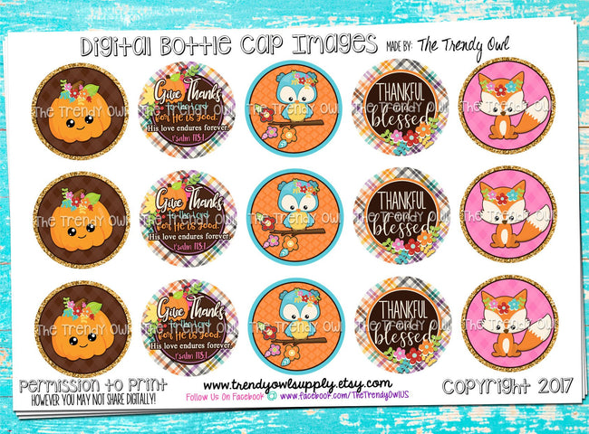 "Fall Friends - Thanksgiving Inspired Sayings - 1"" Bottle Cap Images - INSTANT DOWNLOAD"