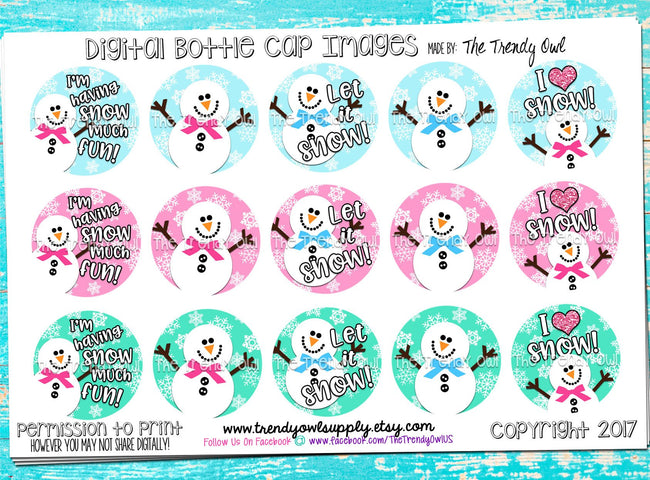 "M2M Girly Winter Snowmen - 1"" BOTTLE CAP IMAGES - INSTANT DOWNLOAD"