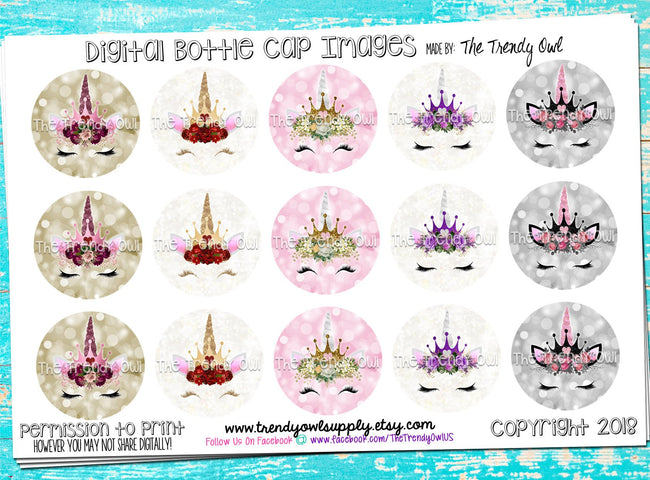 "Unicorn Princess Faces - 1"" BOTTLE CAP IMAGES - INSTANT DOWNLOAD"