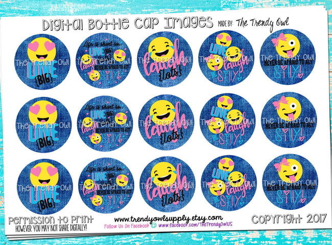 "Love, Laugh, Be Silly - Emoji Themed - 1"" BOTTLE CAP IMAGES - INSTANT DOWNLOAD"