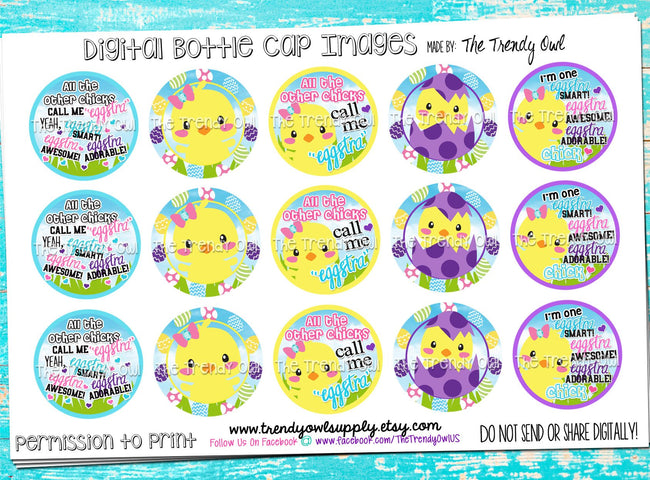 "Eggstra Chick - Easter Chick Inspired - 1"" Bottle Cap Images - INSTANT DOWNLOAD"