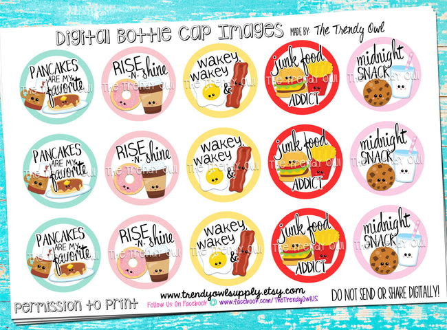 "Food Themed - 1"" Bottle Cap Images - INSTANT DOWNLOAD"