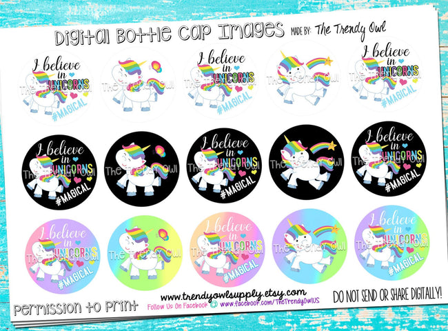 "Believe In Unicorns - 1"" Bottle Cap Images - INSTANT DOWNLOAD"