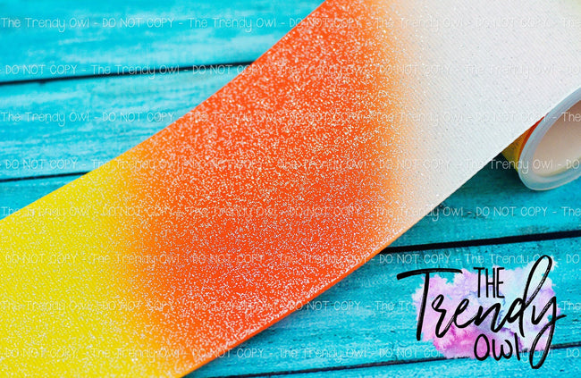 "3"" Glittered Candy Corn Ombre - Heat Transfer Printed - 3yd bundle"