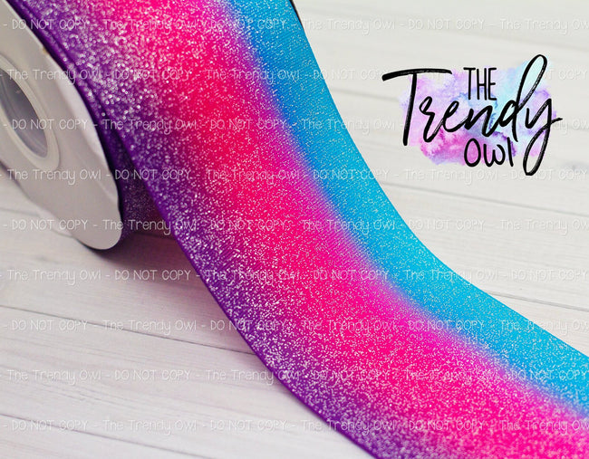"3"" Glittered Turquoise/Pink/Purple Ombre - Heat Transfer Printed - 3yd bundle"