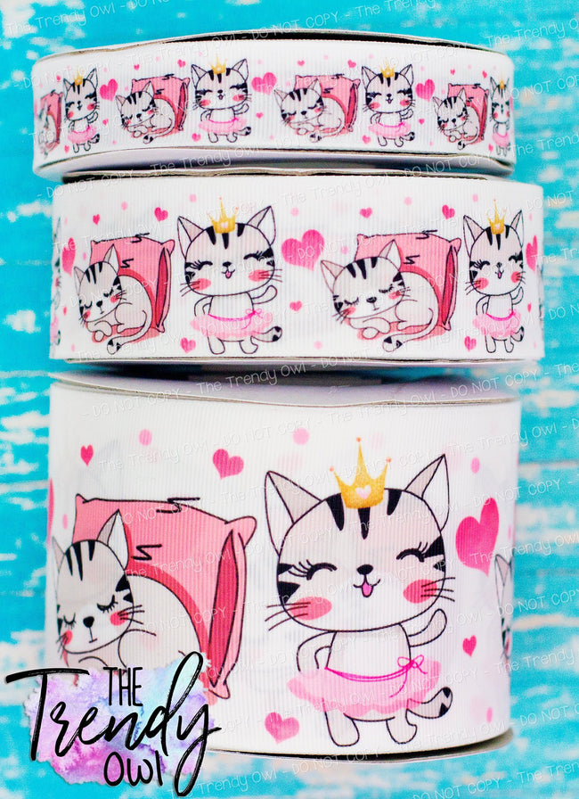 "7/8"", 1.5"" & 3"" Sleepy/Princess Tutu Kittens!!! - Heat Transfer Printed - 3yd cuts"