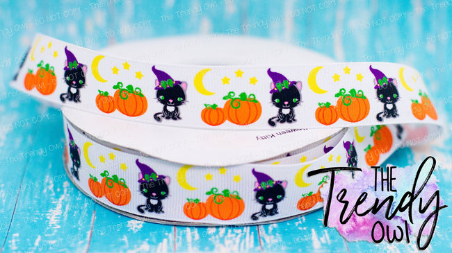 "7/8"" Black Cat & Pumpkins - Halloween Inspired - 3yd cut"