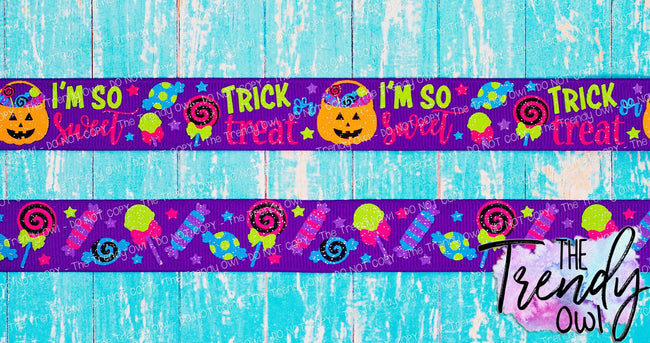 "7/8"" Trick Or Treat on Purple - Halloween Inspired - 3yd cuts/6yds total"