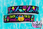 "7/8"" Trick Or Treat on Black - Halloween Inspired - 3yd cuts/6yds total"