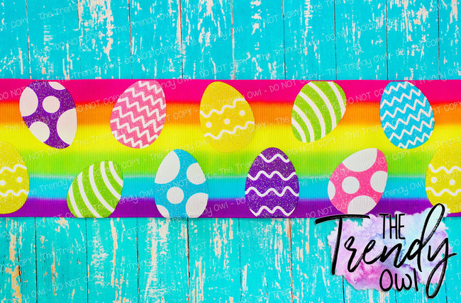 "3"" Glittered Easter Eggs on Rainbow Stripes - 5yd Roll"