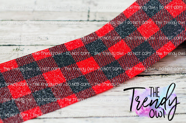 "3"" Glittered Buffalo Plaid - Heat Transfer Printed - BY THE YARD"