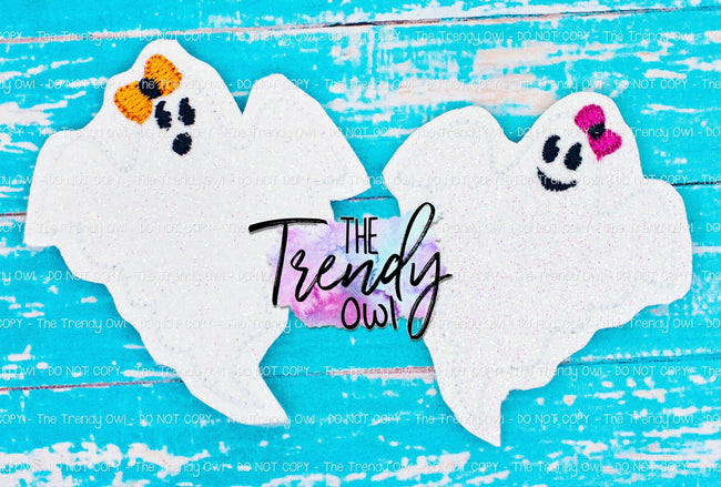 1 pc. Glittered Vinyl Ghost Felties - UNTRIMMED