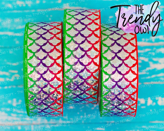 "7/8"" Ariel Inspired Silver Laser Foil Mermaid Scales on Heat Transfer Background - 5yd Roll"