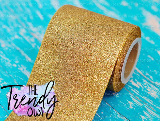 "3/8"", 7/8"", 1.5"" & 3"" Solid Light Gold Glitter - 5yd Roll"
